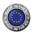 made in european union flag metal icon vector image vector image