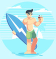 male character on the beach man with a surfboard vector image