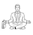 meditating businessman coloring vector image vector image
