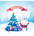 merry christmas greeting card santa with decorated vector image vector image