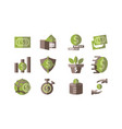 money template flat icon set vector image vector image