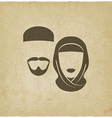 Muslim man and woman old background vector image vector image