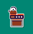 paper sticker on stylish background coffee kettle vector image vector image