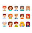 pixel male and female faces avatars vector image