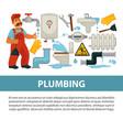 plumbing service poster of bathroom toilet vector image vector image