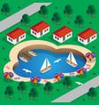 resort is on lake vector image vector image