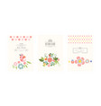 retro cards set greeting cards romantic wedding vector image vector image