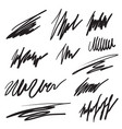 scribble brush strokes set vector image vector image