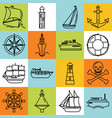 sea collection of ship and nautical icons in line vector image
