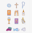 set first communion decoration to traditional vector image