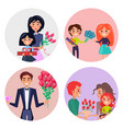 set of four icons with gifts and flowers for girls vector image vector image