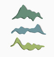 set stylized paper mountains vector image