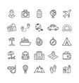 set travel line icons on white background vector image