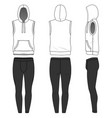 sleeveless hoody and jogging pants vector image vector image