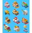 Street Food Trucks Isometric Icons Set vector image