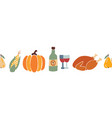 thanksgiving dinner food seamless border vector image