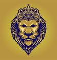 vintage gold lion king with ornament crown vector image