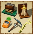 Set of tools miner and gift figurines vector image
