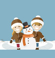 children playing on a sunny winter day vector image
