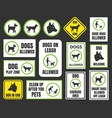 dogs friendly sign pet allowed set dog in car vector image