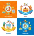 Baby Food 4 Flat Icons Square vector image
