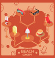 beach color outline isometric concept icons vector image