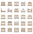 bed colored icons single and double beds vector image