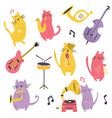 big set funny cats playing musical instruments vector image vector image