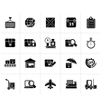 Black Logistic and Shipping icons vector image vector image