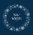 blue background winter frame with snowflakes vector image