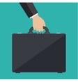 businessman hand holding leather briefcase vector image vector image