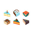 cake pieces delicious isometric sweets tasty food vector image vector image