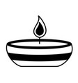 candle fire in ceramic dish vector image