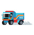 cargo truck vehicle driving with smoke coming out vector image