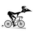 Cartoon man rides a bike