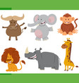 cartoon wild african animal characters set vector image vector image