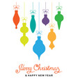 christmas card with hanging color decorations vector image vector image