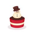 christmas cupcake traditional festive dessert vector image