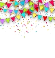 Colorful Background with Hanging Bunting and vector image vector image