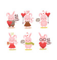 cute cartoon lovely pink rabbit collection vector image vector image