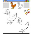 drawing and coloring worksheet with chicken vector image vector image