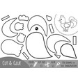 education paper game for children rooster vector image vector image