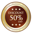 Fifty Percent Discount Gold Label vector image vector image