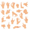 flat hand gestures pointing human finger gesture vector image