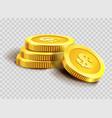 gold coins pile or golden dollar coin money bank vector image
