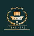 golden logotravel emblem for design vector image vector image