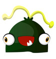 happy green monster with yellow hair on white vector image vector image