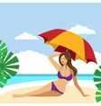 Hot brunette girl on a beach under umbrella vector image vector image