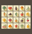 icons of fruit and vegetables vector image vector image