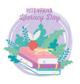international literacy day glasses ink on stack vector image vector image